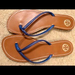 Tory Burch blue leather flip flops size 9